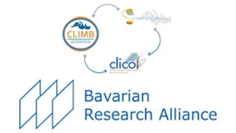 Logo research cluster CLIWASEC and logo Bavarian Research Alliance