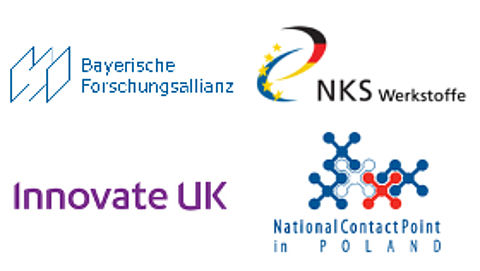 Logo Bayerische Forschungsallianz, NKS Werkstoffe, Innovate UK und National Contact Point in Poland