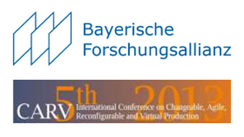 Logo der Bayerische Forschungsallianz und des Kongresses International Conference on Changeable, Agile, Reconfigurable and Virtual Production