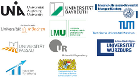 Logo Universities of Augsburg, Bayreuth, Würzburg, Passau, Regensburg, Erlangen, Bundeswehruniversität Munich, Ludwig-Maximilians-University Munich, Technical University of Munich, Haus der Forschung and Bavarian Representation