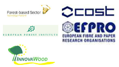 Logo forest-based sector, COST, European Forest Institute, efpro und Innovawood